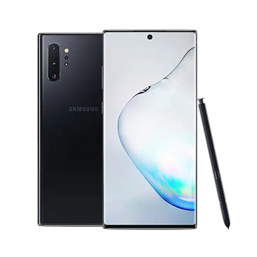 Samsung Galaxy Note 10+ 256GB aura black front and back view