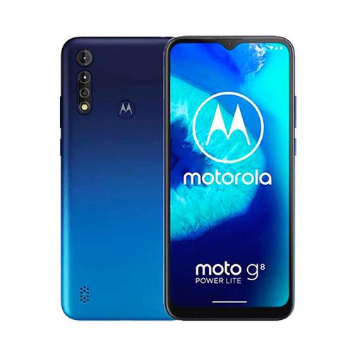 Motorola Moto G8 Power Lite 64GB Royal blue front and back view
