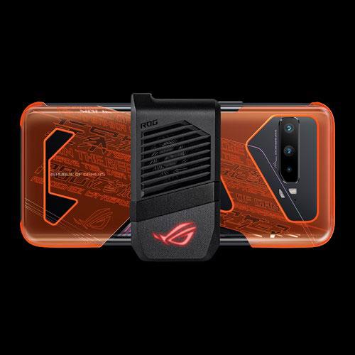 ROG Neon Aero case neon orange clamped on the ROG Phone 3 with a Aero Active Cooler