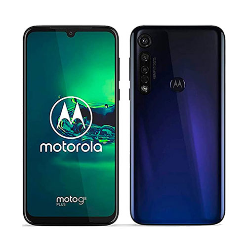 Motorola Moto G8 Plus 64GB cosmic blue front and back view