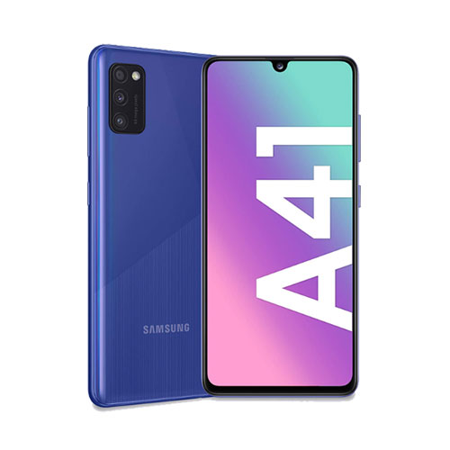 Samsung Galaxy A41 64GB blue front and rear view